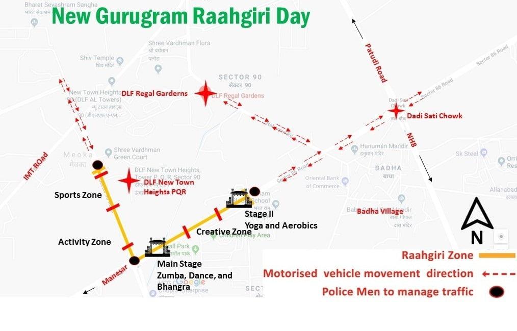 DLF Garden City Raahgiri Day Route Map