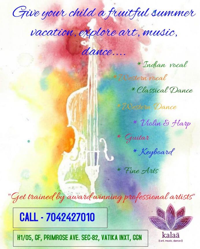 Summer Vacation Brochure of Kalaa art music dance class