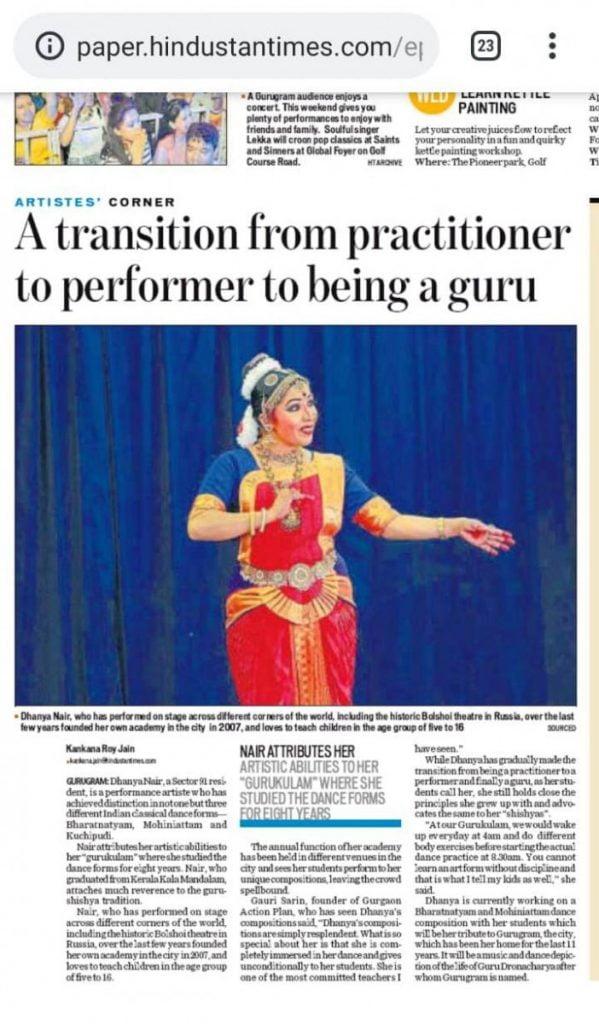 Dhanya Nair Hindustan Times Article