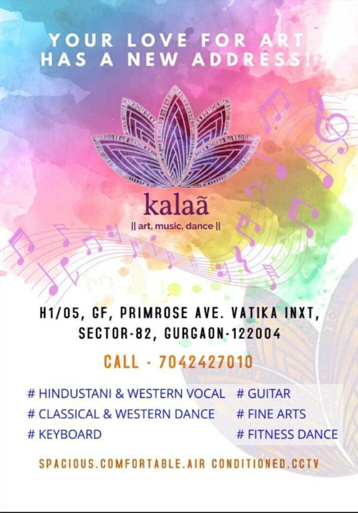 Classes at Kalaa art music dance sector 82 vatika Gurugram