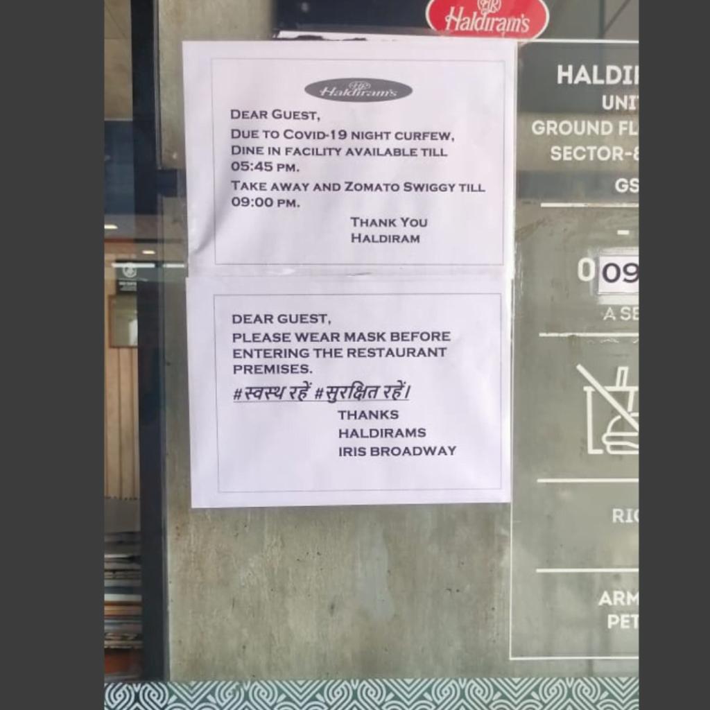 Haldiram Iris Broadway Covid Notice Display dated 23 april 2020